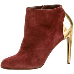 Pre-owned Sergio Rossi Booties ($175) ❤ liked on Polyvore featuring shoes, boots, ankle booties, red, red suede ankle booties, pointed-toe boots, pointy toe boots, suede zipper boots and pointed toe booties