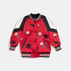 shrunken varsity jacket ($795) ❤ liked on Polyvore featuring outerwear, jackets, red varsity jacket, varsity bomber jacket, varsity-style bomber jacket, varsity style jacket and red jacket