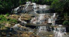 Glen Falls - you get two beautiful waterfalls for one. Located just a few miles from downtown Highlands, Glen Falls is on the east fork of Overflow Creek in the scenic Blue Valley area in Nantahala National Forest.