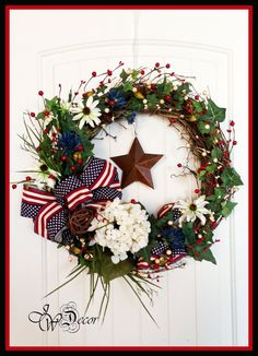 Patriotic Wreath - Americana Wreath - 4th of July Wreath - Red White Blue Rustic Wreath - Summer Wreath - Ships Next Day