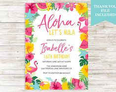 Luau birthday invites aloha pineapple invitations summer birthday aloha luau invitation invite birthday girl any age 16th summertime tropical hawaiian hula digital 5x7 personalized stopboris Image collections
