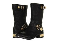 Vince Camuto Winchell Black - badass gold and black motorcycle boots