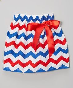 Another great find on #zulily! Red & Blue Chevron Bow Skirt - Infant, Toddler & Girls #zulilyfinds