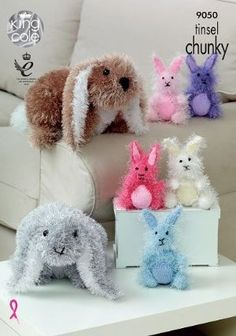 Tinsel Chunky Knitting Pattern Small or Large Bunny Rabbit Toys King Cole 9050 in Crafts, Crocheting & Knitting, Patterns Rabbit Baby, Rabbit Toys, Small Rabbit, Double Knitting Patterns, Crochet Patterns, Knitting Ideas, Free Knitting, Baby Patterns, Knitting Needles