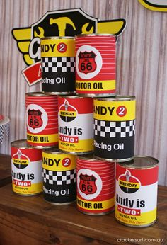 Vintage Rustic Race Car McQueen Cars Boy Party Planning Ideas. throw the ball to knock down cans game