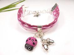 bracelet liberty enfant coccinelle en fimo rose fuchsia étoile glands animal cadeau : Bijoux enfants par kintcreations