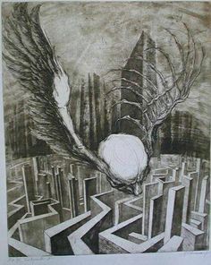 Marcel Chirnoaga - was one of the most important contemporary Romanian artists, world-renowned for his original and profound . Metal On Metal, Marcel, Surrealism, Mythology, Eye Candy, Fantasy, Artwork, Graphite, Draw