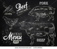 Chalk Illustration of a vintage graphic element on the menu for meat steak cow pig chicken divided into pieces of meat by anna42f, via Shutt...