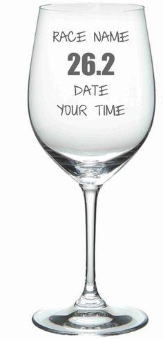 Personalized Race Glass 26.2  Marathon Wine by WulfCreekDesigns, $18.99