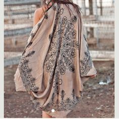 Cocoon Shawl Cardigan Cape Wrap Kimono Gorgeous light weight  henna print kimono cardigan . Perfect for layering and with denim for dresses. One size nwot Colors -black , mocha and blue  only   . 100% acrylic lightweight scarf shawl kimono . Vivacouture Accessories Scarves & Wraps