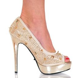 "5"" Sexy Open Toe Rhinestone Heels With Spike Detail #Foxy101"