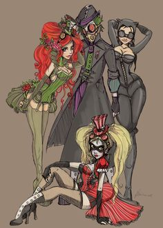Steampunk Harley Quinn, Poison Ivy, Joker, and Cat Woman. Can't find the source for this piece, if you know the artist, tell me.