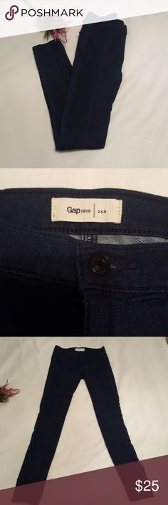 GAP 1969 slim indigo jeans Indigo blue slim jeans. Seams up front side and back of legs. Never worn. Without tags. Size 24r. GAP Jeans Skinny