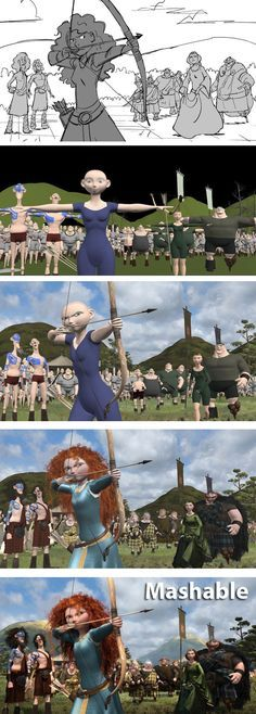 Click to find out EXACTLY how Pixar turns a simple sketch into a stunning CGI scene. // From 'Brave'