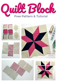 Sarah's Choice Quilt Block is a wonderful star quilt block. Sarah's Choice incorporates a lovely pinwheel in the center and can be made in a number of combinations. Using squares and half square triangles, this fun and easy block comes together in a bree Star Quilt Blocks, Star Quilt Patterns, Star Quilts, Easy Quilts, Pattern Blocks, Sewing Patterns, Easy Patterns, Block Quilt, Mini Quilts