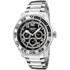 I By Invicta Men's 43658-002 Black Dial Stainless Steel Watch Invicta. $69.95. Water-resistant to 165 feet (50 M). Black dial with white border; luminous silver-tone hands, hour markers and arabic numerals; unidirectional bezel. Durable mineral crystal; brushed and polished stainless steel case and bracelet. 60 second, day and date subdials with orange luminous hands. Precise Japanese-quartz movement. Save 86%!