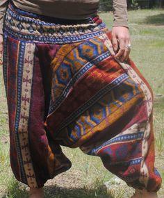 100% Yak Wool Harem Pant - Winter Pant Harem Funky India Nepal Festival Burning Man Boho Bohemian by UbuntuThreads on Etsy