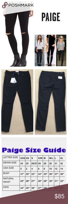 "Paige Overdye Destructed Verdugo Skinny Jeans. NWT Anthropologie Paige Black Overdye Slash Knee Destructed Verdugo Ankle Skinny Jeans, 50% rayon, 28% cotton, 21% polyester, 1% spandex, machine washable, 28"" waist, 8.5"" front rise, 13.5"" back rise, 28.5"" inseam, 10"" leg opening (all around), stretchy, slash ripped knees, five pockets, belt loops, zip fly button closure, measurements are approx. NO TRADES Anthropologie Jeans Skinny"