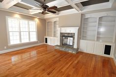 Living Room Design: need high ceilings but I love the built ins and coffered ceilings