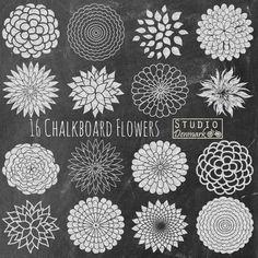 Chalk Flowers Clipart - Chalkboard Mum Flowers and Chalkboard Backgrounds - Commercial Use - Instant Download Chalkboard Flowers