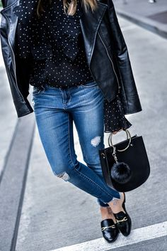 Houston fashion blogger Tiffany Jais wearing nordstrom raw hem jeans, and ASOS mules, with a leather jacket   What's trending in women's fashion