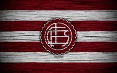Download wallpapers Lanus, 4k, Superliga, logo, AAAJ, Argentina, soccer, Lanus FC, football club, wooden texture, FC Lanus
