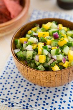Cucumber Mango Salsa Recipe An aversion to spiciness doesn't mean you're out of luck when it comes to salsa. This cucumber mango salsa, for example, is both sweet and cooling, but goes wonderfully with a tortilla chip just the same.