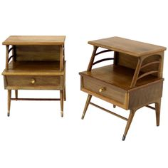 Pair of Mid Century Danish Modern Nightstands Stands Cabinets End Tables at 1stdibs