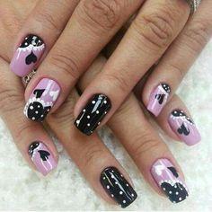 Black Lilac Polka Heart