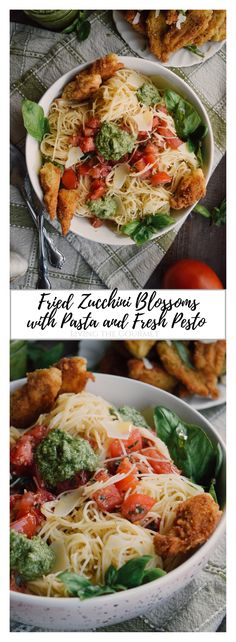 Fried Zucchini Blossoms with Pasta and Fresh Pesto - Living The Gourmet