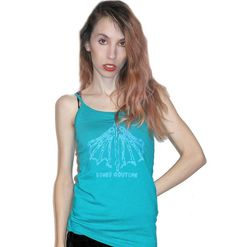 Teal and Metallic Blue MERMAID TAIL SKELETON Scoop Neck Tank Top Available in sizes Extra Small, Small, Medium, Large, Extra Large