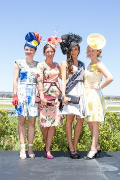 Adorn Collection Millinery (far left and far right). Fashion at The Races judges Melissa Barnes and Olivia Nunn with runner up Louise Panas and winner Claudia Rogosich