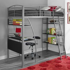 Bunk Beds with Desk Twin Loft Bed Kids Boys Girls Bedroom Furniture Metal Modern Loft Bunk Beds, Bunk Bed With Desk, Modern Bunk Beds, Bunk Beds With Stairs, Kids Bunk Beds, Bedroom Furniture, Bedroom Decor, Bedroom Apartment, Kids Bedroom
