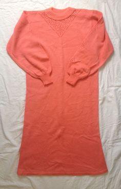 Vintage Womens Coral Knit Sweater Dress - Sz M #Vintage #SweaterDress