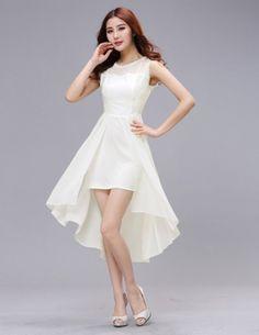 Đầm voan màu trắng phối ren đuôi tôm - A9032