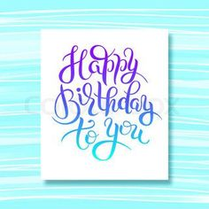 hand lettering inscription typography template Happy Birthday to you on stripe pattern