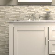 Shop Elida Ceramica Crackled Linear Silk Glazed Porcelain Mosaic Indoor/Outdoor Wall Tile (Common: 12-in x 14-in; Actual: 12-in x 12.6-in) at Lowes.com