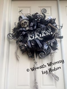 Halloween XL Skeleton Black & Silver Deco Mesh Wreath, Halloween Decor, Victorian Skeleton Wreath, Door Wreath by WreathWhimsybyRobin on Etsy