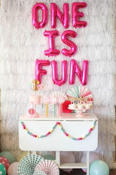 One is Fun Birthday Party - darling idea for a girl's first birthday!Rebecca from Petite Party Studio shares all the details of the sweet One is Fun birthday party that she helped her business bestie plan for her daughter. First Birthday Themes, Baby Girl First Birthday, Birthday Fun, 1st Birthday Party Ideas For Girls, Cake Birthday, First Birthday Quotes, First Birthday Decorations Girl, Simple First Birthday, Birthday Table