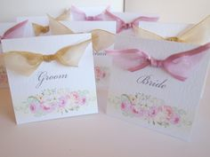 Romantic Wedding Place Name Cards - Laura design in soft pinks and creams