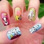 Snoopy Woodstock Peanuts Nail Art Cute!