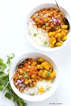 Easy Chickpea Curry Spiced Potato Bowl. Quick Chickpea Curry served with rice or cooked grains and 5 ingredient Spiced Potatoes. Vegan Gluten-free Soy-free Recipe | http://VeganRicha.com