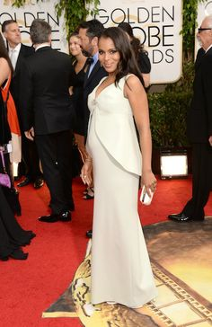 See Every Look from the 2014 Golden Globes Red Carpet: Kerry Washington in custom Balenciaga. only she could look so chic while prego