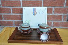 Korean tea cups with ceramic strainer