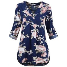 Faddare Womens Blouses And Tops Dressy, Solid Color Tops Ladies Loose Fit V Neck Shirts Women Black Fashion 2017, Womens Fashion, Fashion Tips, Floral Tunic, Floral Tops, Floral Fashion, Outfit Sets, Spring Outfits, Blouses For Women