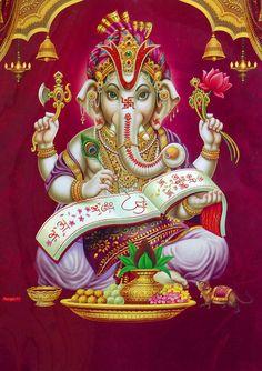 Lord Ganesha - Hindu Posters (Reprint On Metallic Paper - Unframed) Shri Ganesh Images, Sri Ganesh, Ganesha Pictures, Ganesh Lord, Hanuman Images, Baby Ganesha, Ganesha Art, Krishna Art, Shiva Art