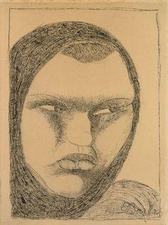 """Ernst Barlach - """"KOPF EINER RUSSISCHEN BÄUERIN MIT KOPFTUCH"""" 1907, Tuschpinsel auf chamoisfarbenem, Papier, 40 x 29,8 cm"""