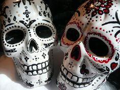 Ceramic sugar skull cake toppers