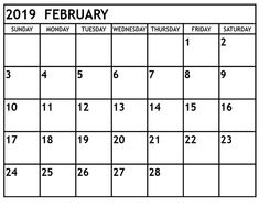 40 Best Free Printable February 2019 Calendar Images On Pinterest In