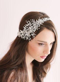 Handmade Crystal Tiara Bead Bridal Crown Headband par CleoandCesar